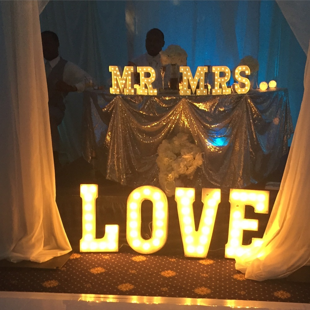 MR & MRS and LOVE vintage inspired light up letters