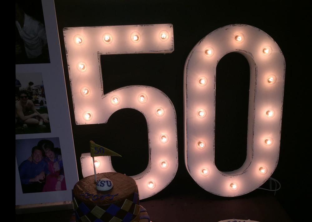 marquee numbers at a 50th birthday