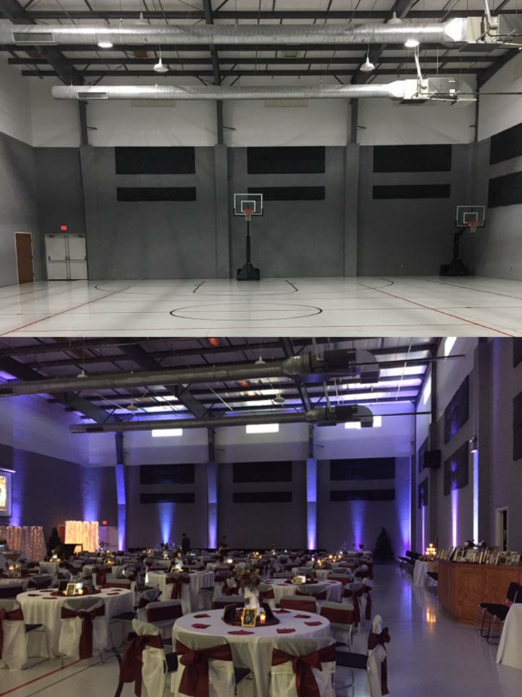 Uplighting before after